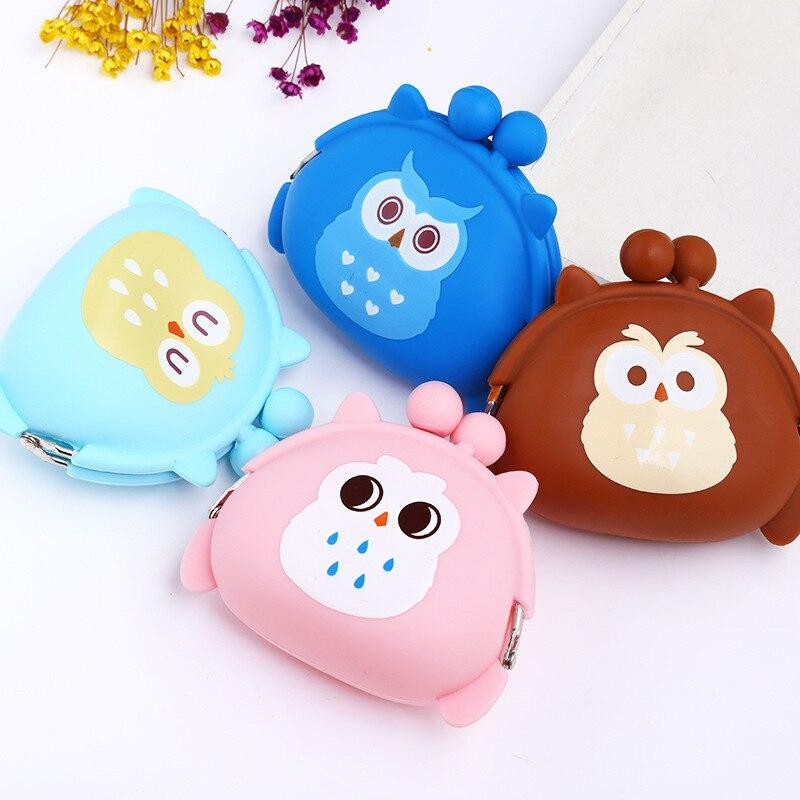 South Korea Cute Mini Purse Soft Surface Buckle Owl Cartoon Silicone Coin Purse