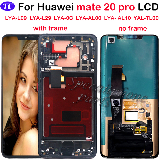 Super AMOLED For Huawei Mate 20 Pro LCD Display Touch Screen Digitizer Assembly Repair Mate 20 pro LCD With frame With fingerpri