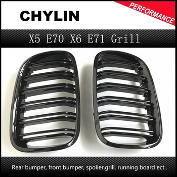 ABS Gloss Black Car Front Bumper Double Slat Grill Grille for BMW E70 X5 E71 X6 SUV 4 Door 2007 - 2013 2PC image