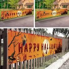 Ao ar livre halloween banner puxar bandeira decorações celebrar festa pendurado decoração varanda fundo suprimentos sinais dobrável m1i9