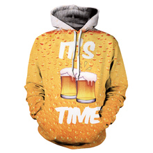 New Fashion 3D Beer Printing Hoodies Men / Women Autumn And Winter Sweatshirt Hip Hop Casual Hooded Plus Size