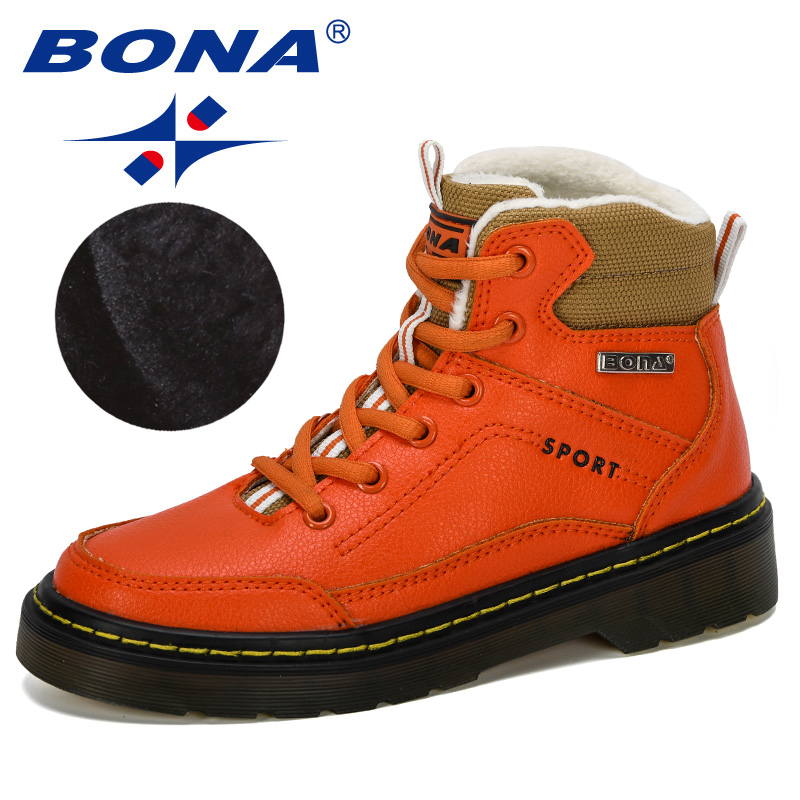BONA 2019 New Designer Platform Children Snow Boots Plush Casual Sneakers Kids Leather Snowboots Warm Shoes Boys Winter Footwear