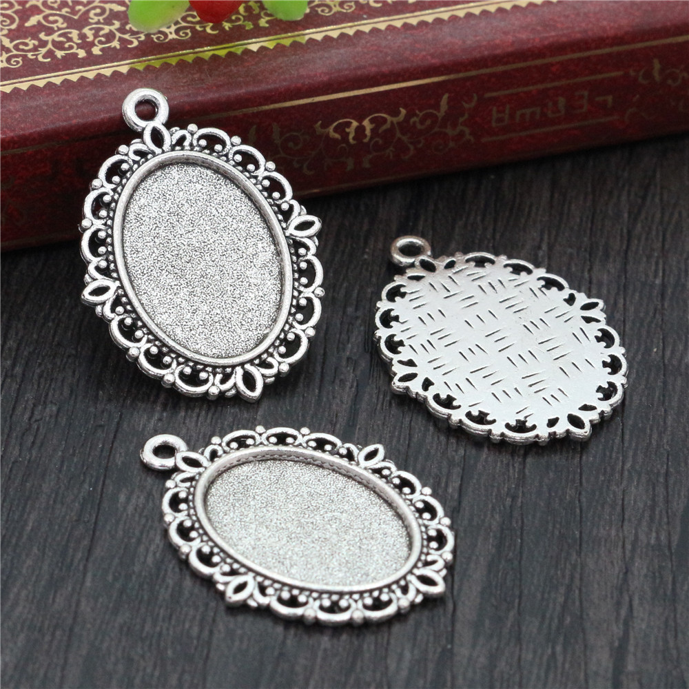 8pcs 13x18mm Inner Size Antique Silver Plated Simple Style Cameo Cabochon Base Setting Charms Pendant Necklace Findings  (D4-20)