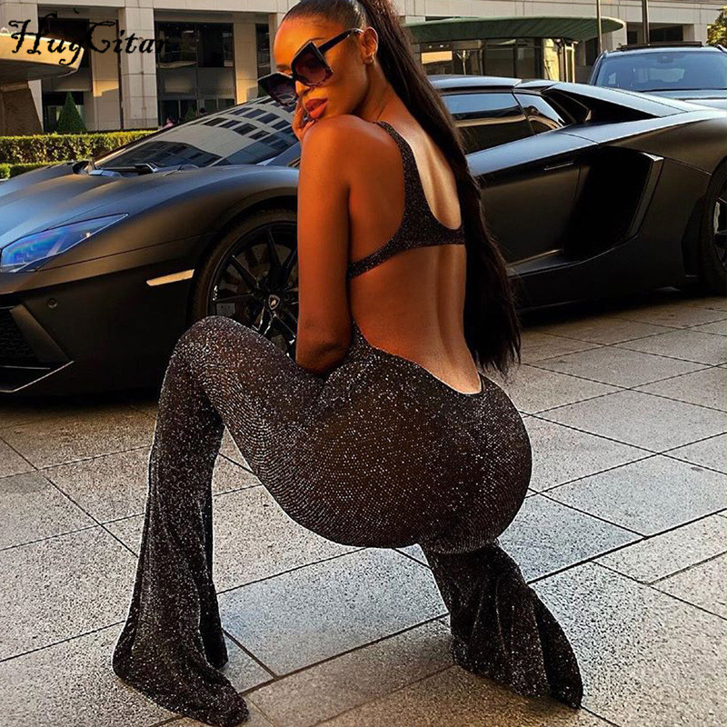Hugcitar 2019 Backless Hollow Out Sexy Flare Jumpsuit Autumn Winter Women Streetwear Club Party Bodycon Body