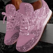 Women Sequined Sneakers Shiny Lace Up Fashion Bling  Multi-color Ladies Casual Sports Jogging Vulcanize Shoes D25