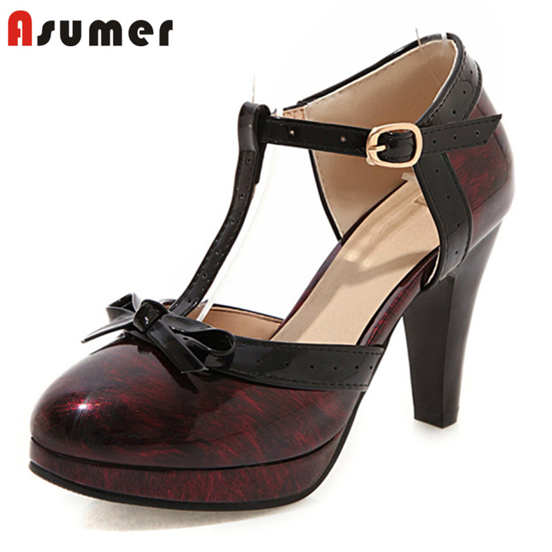 ASUMER 2020 Newest Big Size 33-48 Pumps Women Platform Shoes Bowknot Buckle Round Toe Summer Shoes Ladies Dress Party Shoes