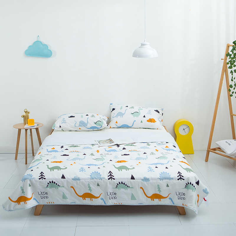 100% cotton cartoon kids cartoon dinosaur print bedspread coverlet/bed cover,also good use as summer blanket