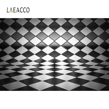 Laeacco Photography Backdrops Black White Square Pattern Floor Bend Portrait Photographic Backgrounds Photocall Photo Studio