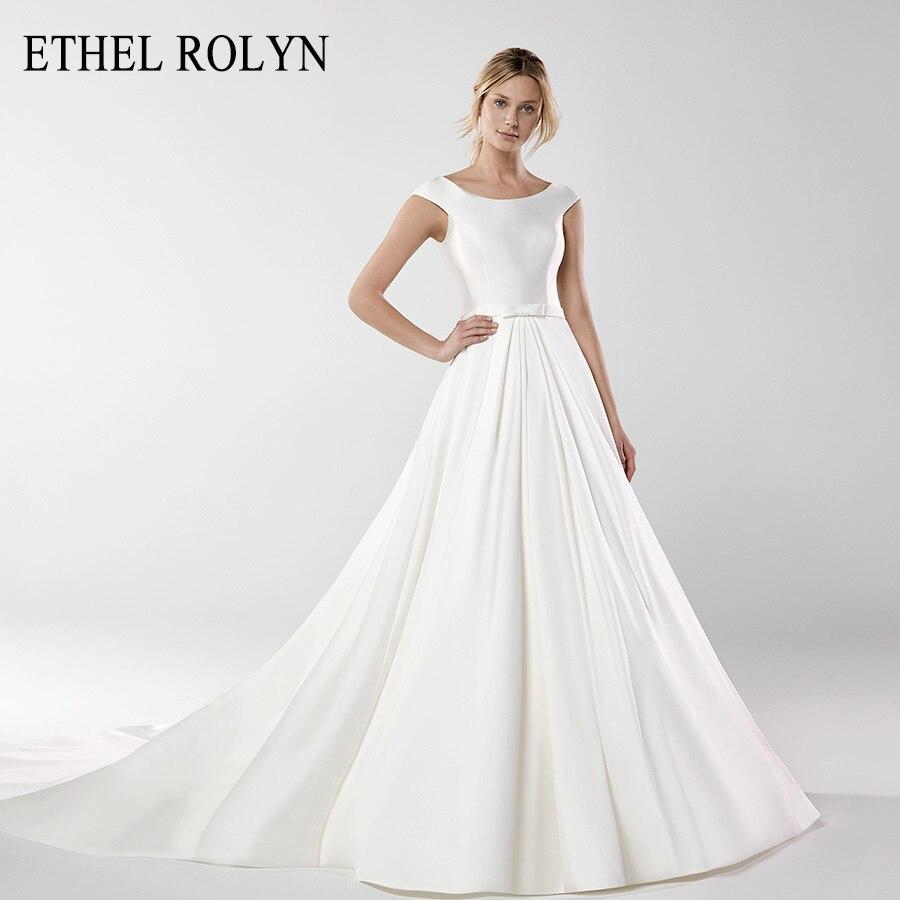 ETHEL ROLYN Soft Satin Bow Vintage Wedding Dress 2020 Scoop Short Sleeves Bride Dresses Princess Wedding Gowns Vestido De Noiva