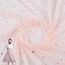 цена Women Child Clothing Apparel Fabric Polyester Textile Hexagon Mesh Cloth DIY Sewing Patchwork Stars Sequin Fabrics Sold By Meter в интернет-магазинах