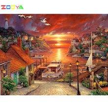Zooya полноразмерная алмазная живопись квадратный/круглый пейзаж
