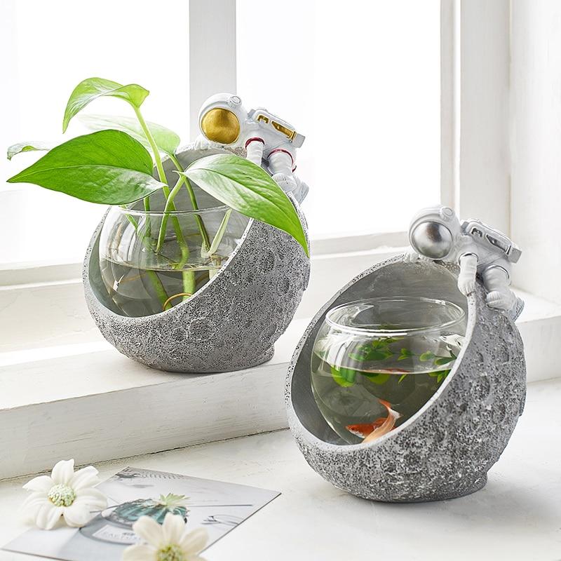 Креативная Корейская стеклянная Цветочная ваза для растений, украшение для дома, астронавт, смола, дайвер, украшения, вазы, гидропоника, офи...