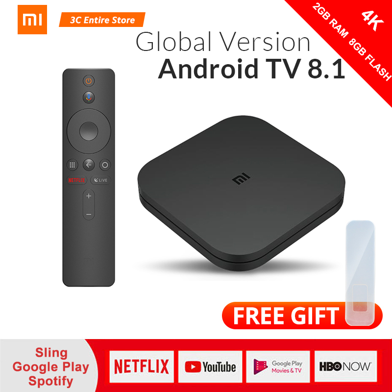 Version originale mondiale Xiao mi Box S 4 Android 8.1 4K QuadCore Smart TV Box 2GB 8GB HD mi 2.4G 5.8G WiFi BT4.2 Mali450 1000Mbp