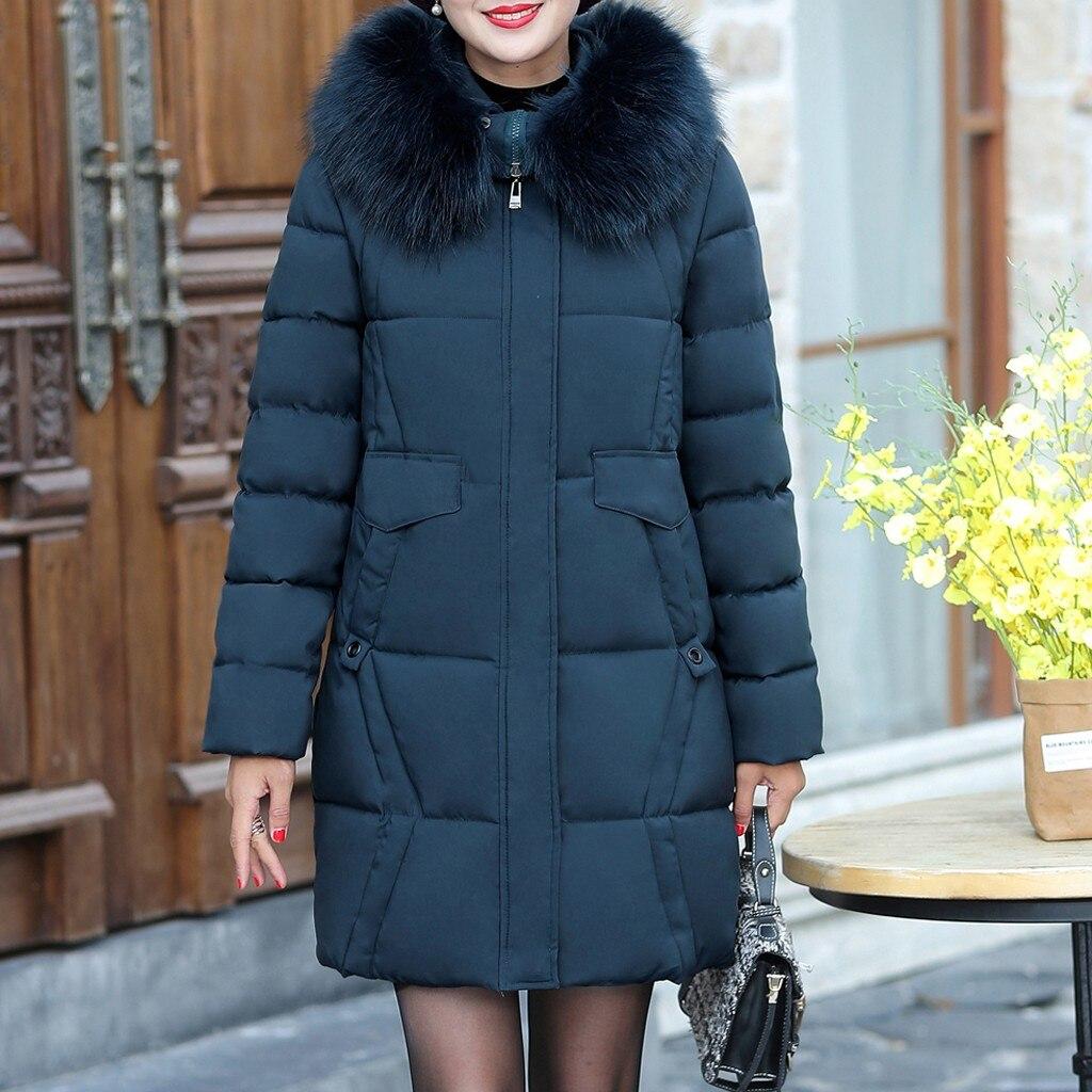 Veste d'hiver femmes grande fourrure à capuche Parka longs manteaux coton rembourré dames hiver manteau mère manteau chaud Jaqueta Feminina Inverno
