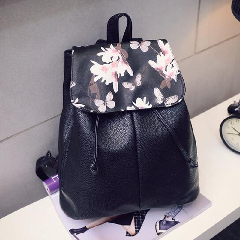 Backpack Simple Style Women New Fashion Casual Pu Leather 2019 Student Female Korean Version Solid Travel