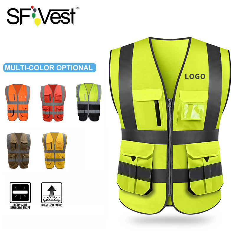 SFVest High Visibility Reflective Safety Vest Safety Clothing Work Reflective Vest Multi Pockets Workwear Safety Waistcoat Men