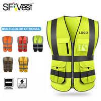 Sfvest alta visibilidade reflexiva colete de segurança vestuário trabalho reflexivo colete multi bolsos workwear segurança