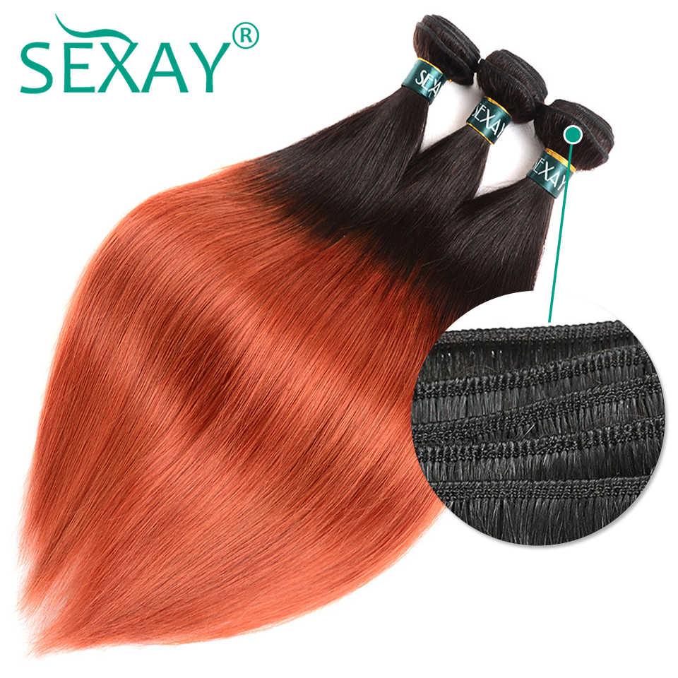 Zestawy SEXAY Ombre z zamknięciem 1B/350 spalone pomarańczowe wstępnie kolorowe doczepy z ludzkich włosów Remy włosy wyplata 3 zestawy z zamknięciem