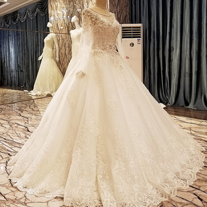 Image 3 - Ls99064 elegante laço vestido de casamento vestido de baile cristal vestidos de casamento robe de mariage 2018 fotos reais
