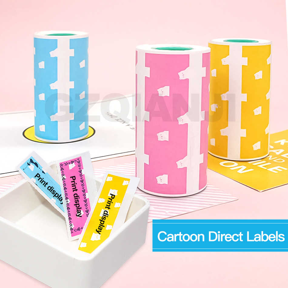 3 Roll Beruang Lucu Self-Adhesive Label Stiker Percetakan Kertas Thermal 57X30 untuk Peripage Bluetooth Printer