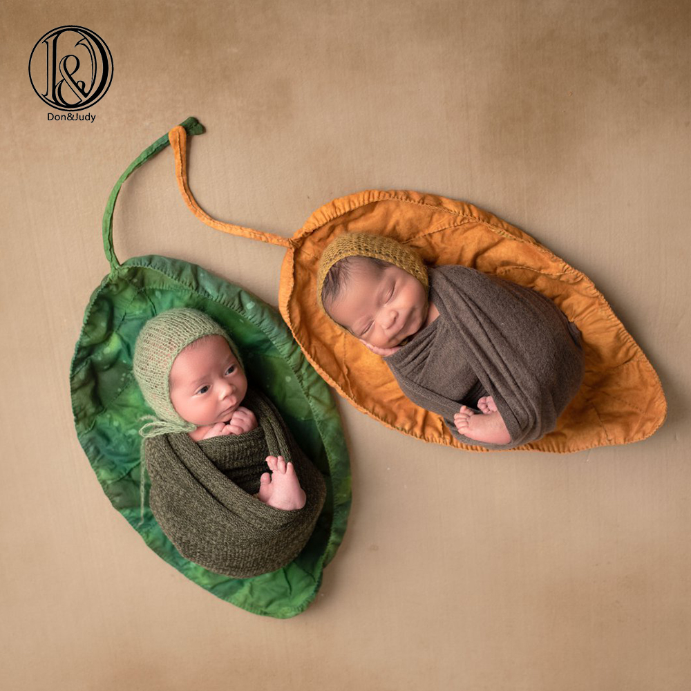 D&J New Big Green Leaves Posing Blanket Newborn Baby Photography Props Soft Basket Filler Photo Shoot Photography Accessories