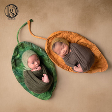 D&J New Big Green Leaves Posing Blanket Newborn Baby Photography Props Soft Basket Filler Photo Shoot Accessories
