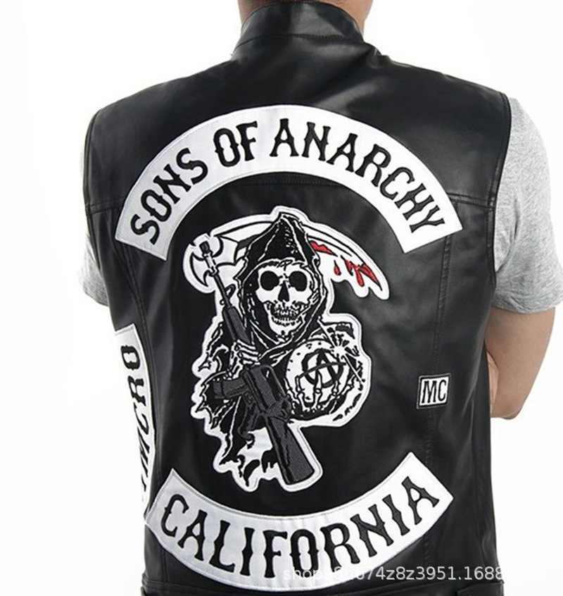 Sons Of Anarchy con Cappuccio Tv Soa Cosplay Costume Degli Uomini Del Rivestimento Della Chiusura Lampo di Cuoio Della Maglia Punk Rock Cap Mayans Mc Usura