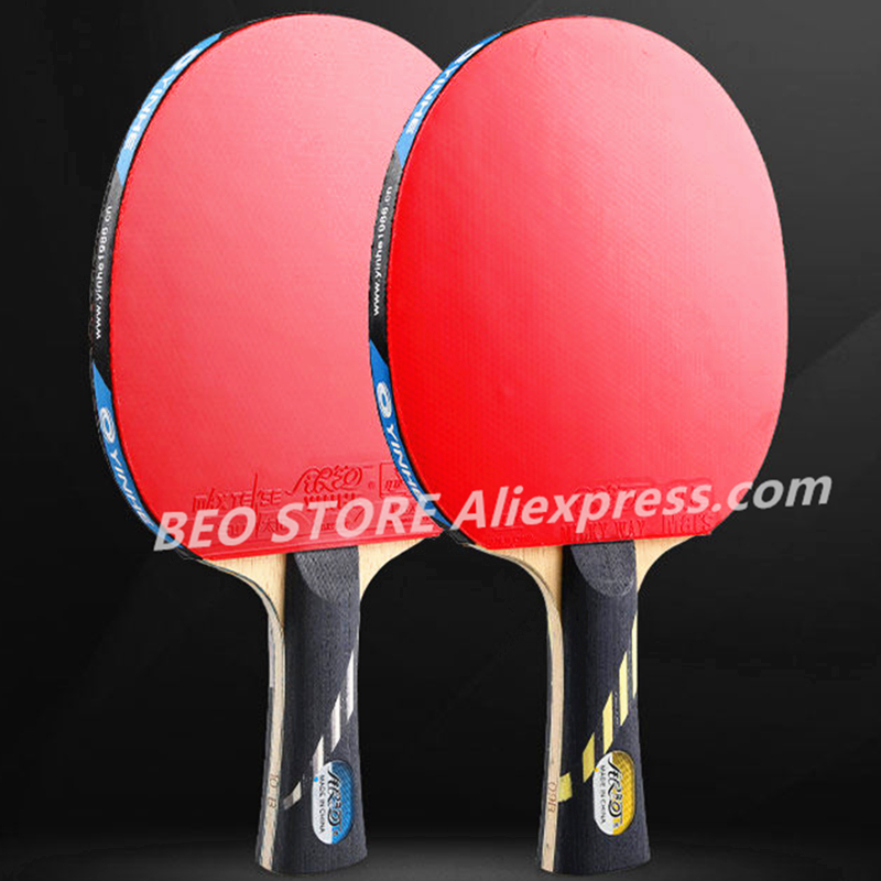 YINHE 9-Star Racket Galaxy 5 Wood+2 Carbon OFF++ Pips-in Rubber Table Tennis Rackets Ping Pong Bat
