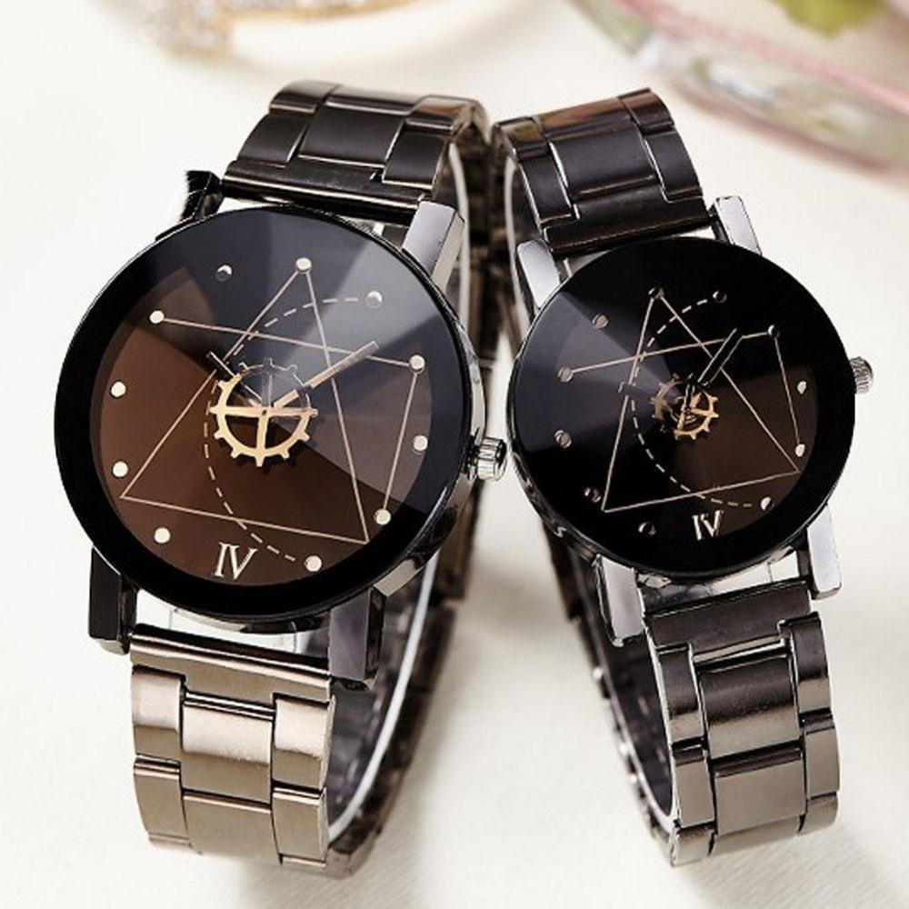 Hot Sale Couple Quartz Analog Wrist Watches Korean Retro Stainless Steel Students' Lovers Watch Wristwatch Round Dropshipping
