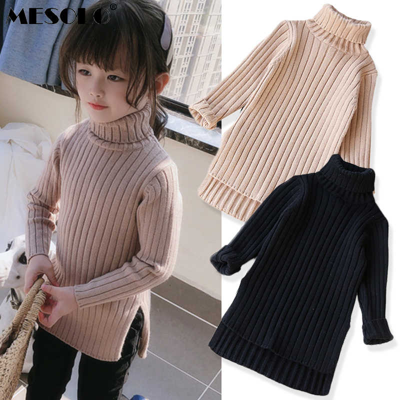 2019 New Winter Item Girl Long Top Two Colors Sweater Knit Turtleneck Girls Dress Ins Fashion Long Sleeve Elastic Bag Hip Dress