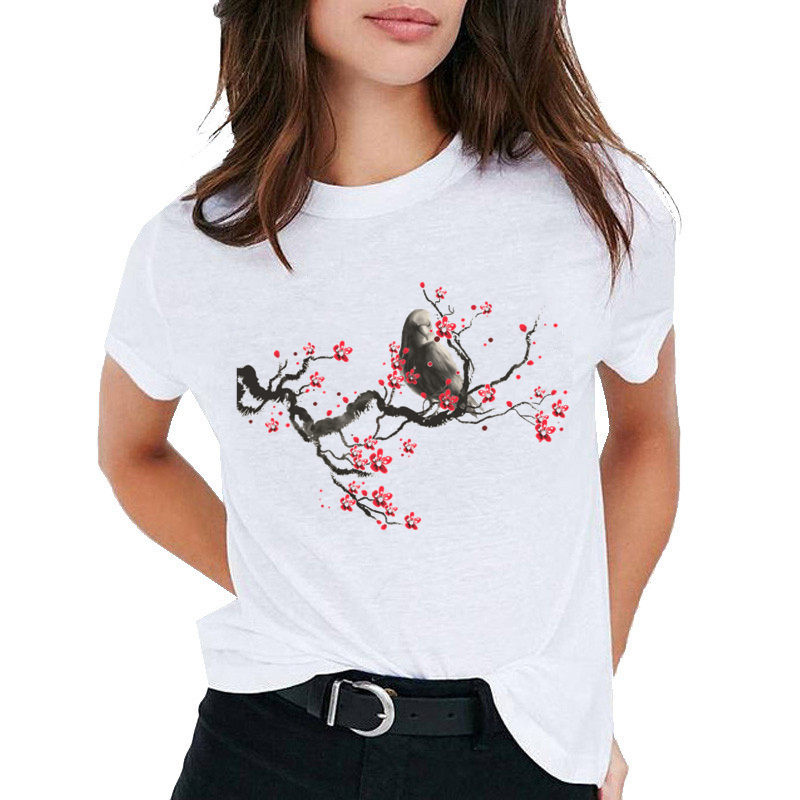 Chinese Style Print Women T Shirt Fashion Short Sleeve O-Neck T-shirt Casual Harajuku White Tops Simple Pullover Camisetas Mujer