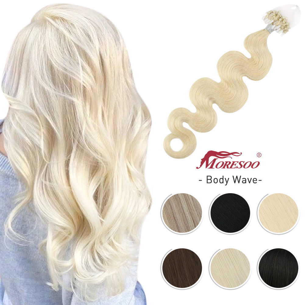 Moresoo Micro Ring Hair Extensions Body Wave Pure Color 50 Strands 50G Machine Remy Microbead Hair Natural Straight Micro Link