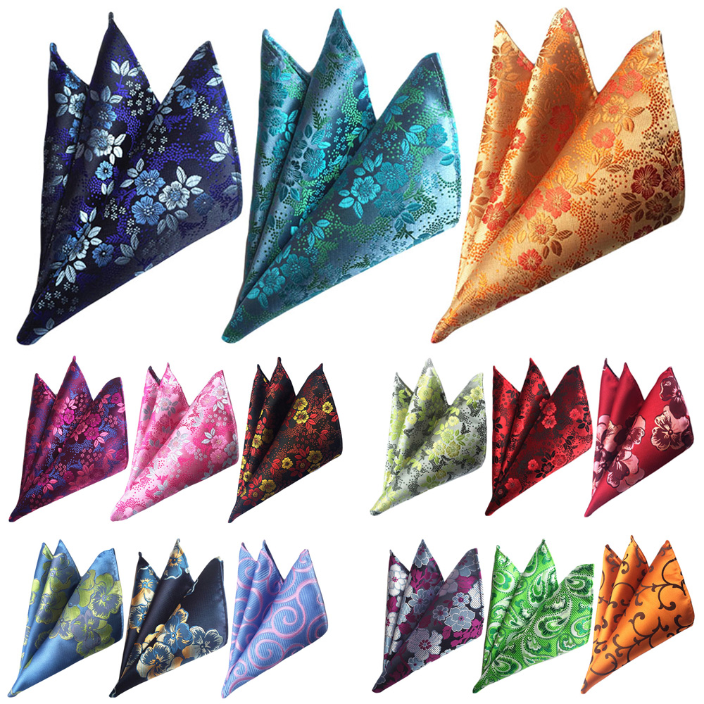 3 Packs Men's Classic Floral Pocket Square Wedding Party Business Handkerchief BWTHZ0367