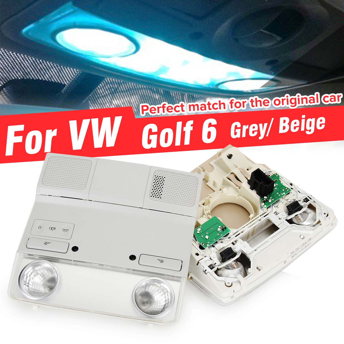 Car Interior Dome Top Roof Reading Light Lamp With Red Light Switch for Volkswagen For VW Golf 6  Mk6 Mk5 Passat B6 1Kd947105B