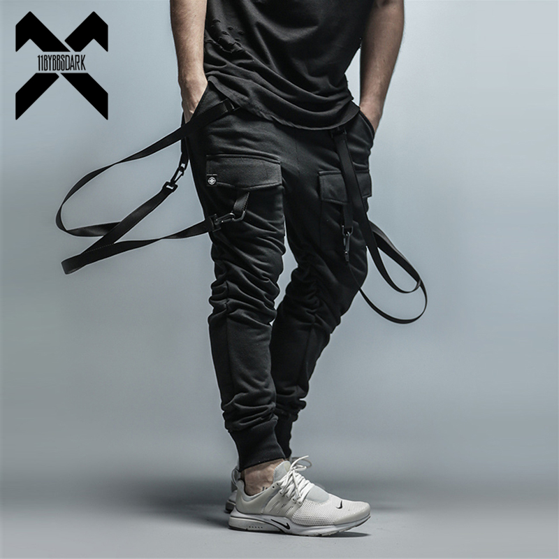 11 BYBB'S DARK Cargo Pants Men Straps Black Hip Hop Casual Streetwear Sweatpants Ribbon Men's Pencil Pants Black DG101