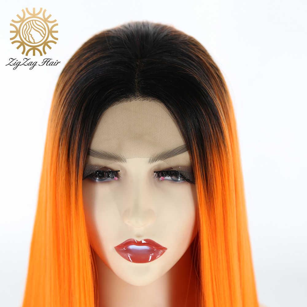 Zickzack Schwarz Ombre Orange Farbe Synthetische Spitze Front Perücke für Schwarze Frauen 2 Tone Glueless Lange Gerade Hitze Beständig Faser haar