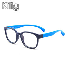 Kilig Square Blue Light Blocking Sun Glasses Children Optical Frame Transparent Eyeglasses Gaming