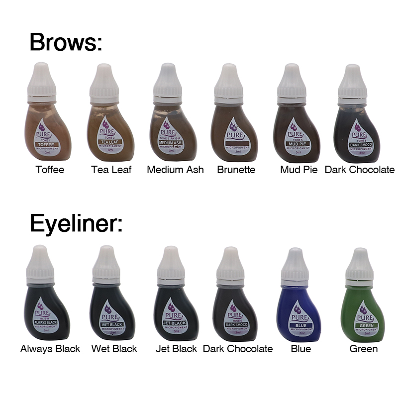1PCS Original US Pure Plant Extraction Pigment Pure Micropigment Permanent Makeup Tattoo Ink For Eyebrow Eyeliner Lip