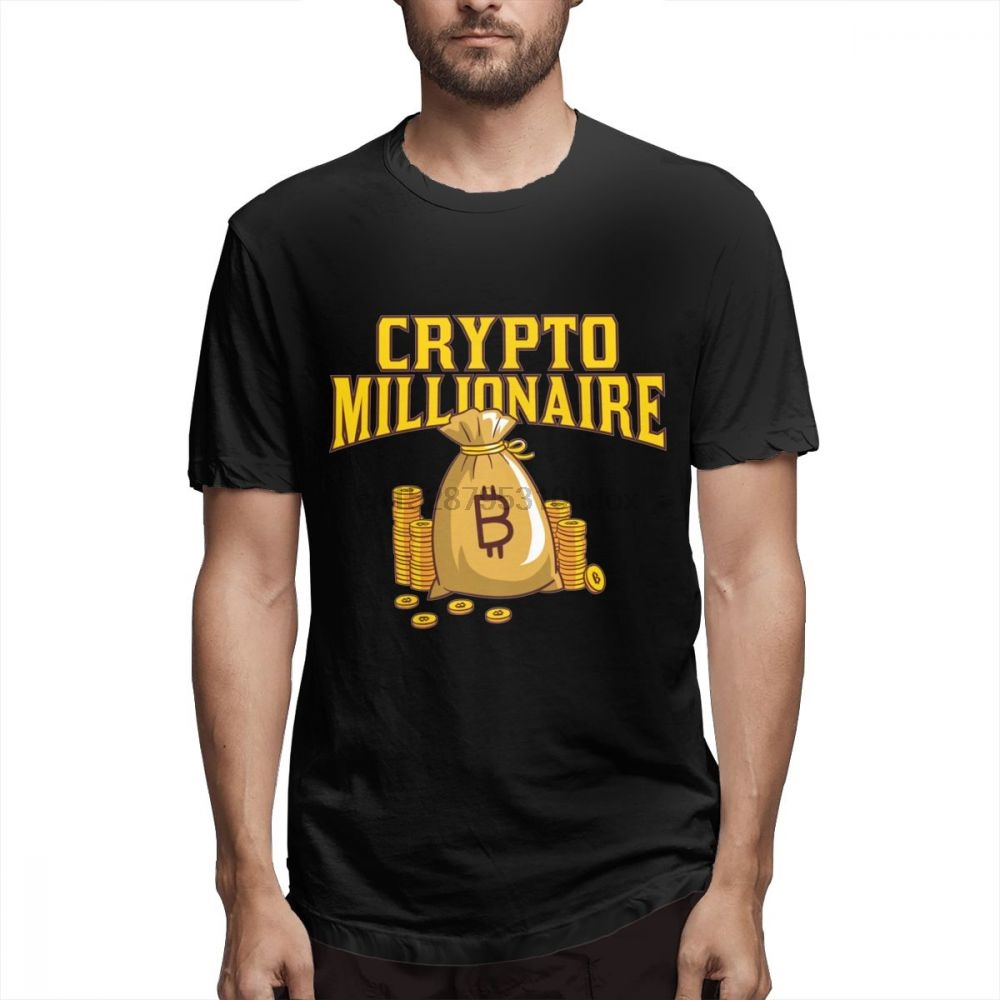 100% Cotton Great Bitcoin T shirt Millionaire Crypto Shirt Cryptocurrency Tee For Man T Shirt Free Shipping Tee 3D Print Tees
