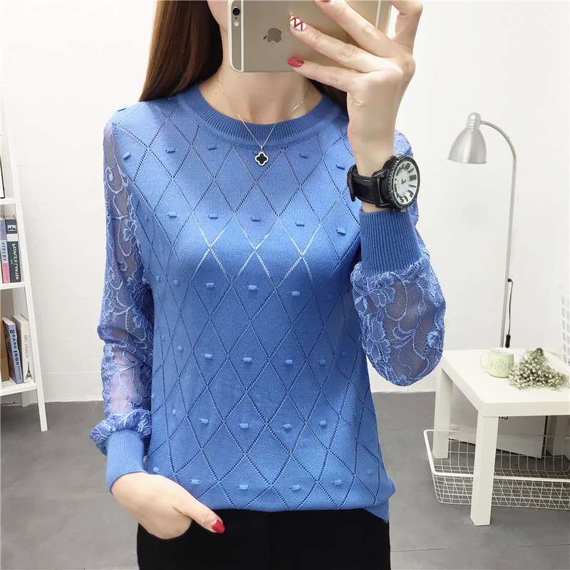 Loose Long Sleeve Knitted Sweater Pullover Sweater With Round Collar And Lace Bottoms