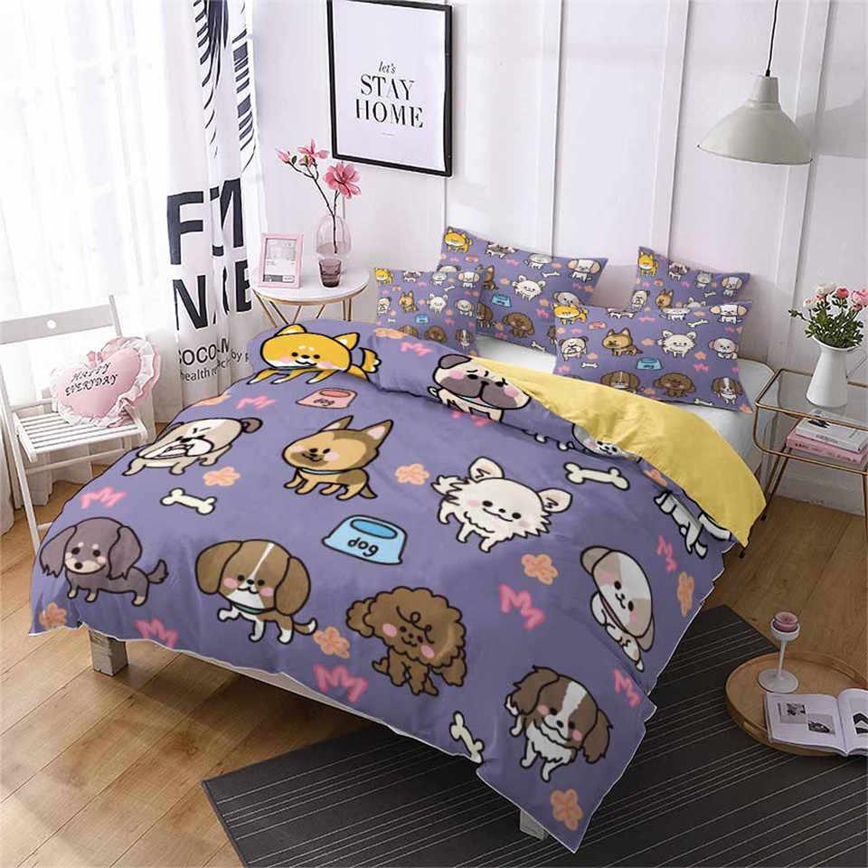 Duvet Cover Bulldog Bed Clothes Cartoon Dachshund 3D Children Bed Linen Queen Size Single Double Kids Bedding Set Cute Animals