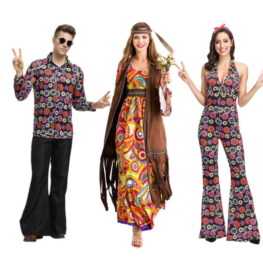 70s Hippie Cosplay Costume Carnival Halloween Costume For Men Women Dress Fancy Disguise Party Groovy Disco Native Night Club