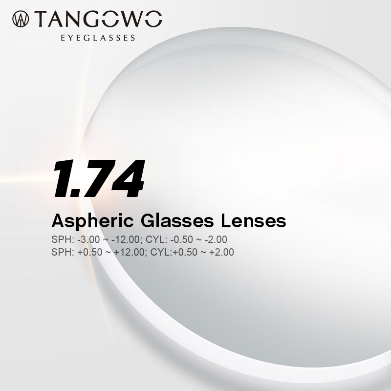 TANGOWO 1.74 Index Prescription lunettes myopie marque lentille lunettes claires dur résistant aux rayures asphériques lentilles optiques