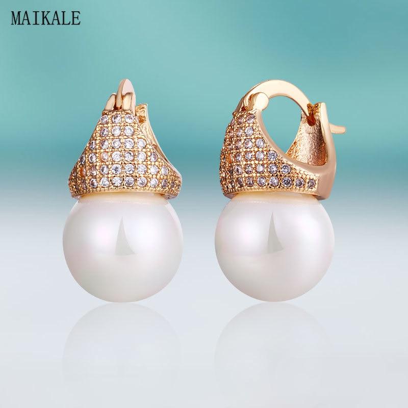 MAIKALE Luxury Crown Zircon CZ Stud Earrings with Pearl Gold Cubic Zirconia Earings for Women New Fashion Jewelry Gift