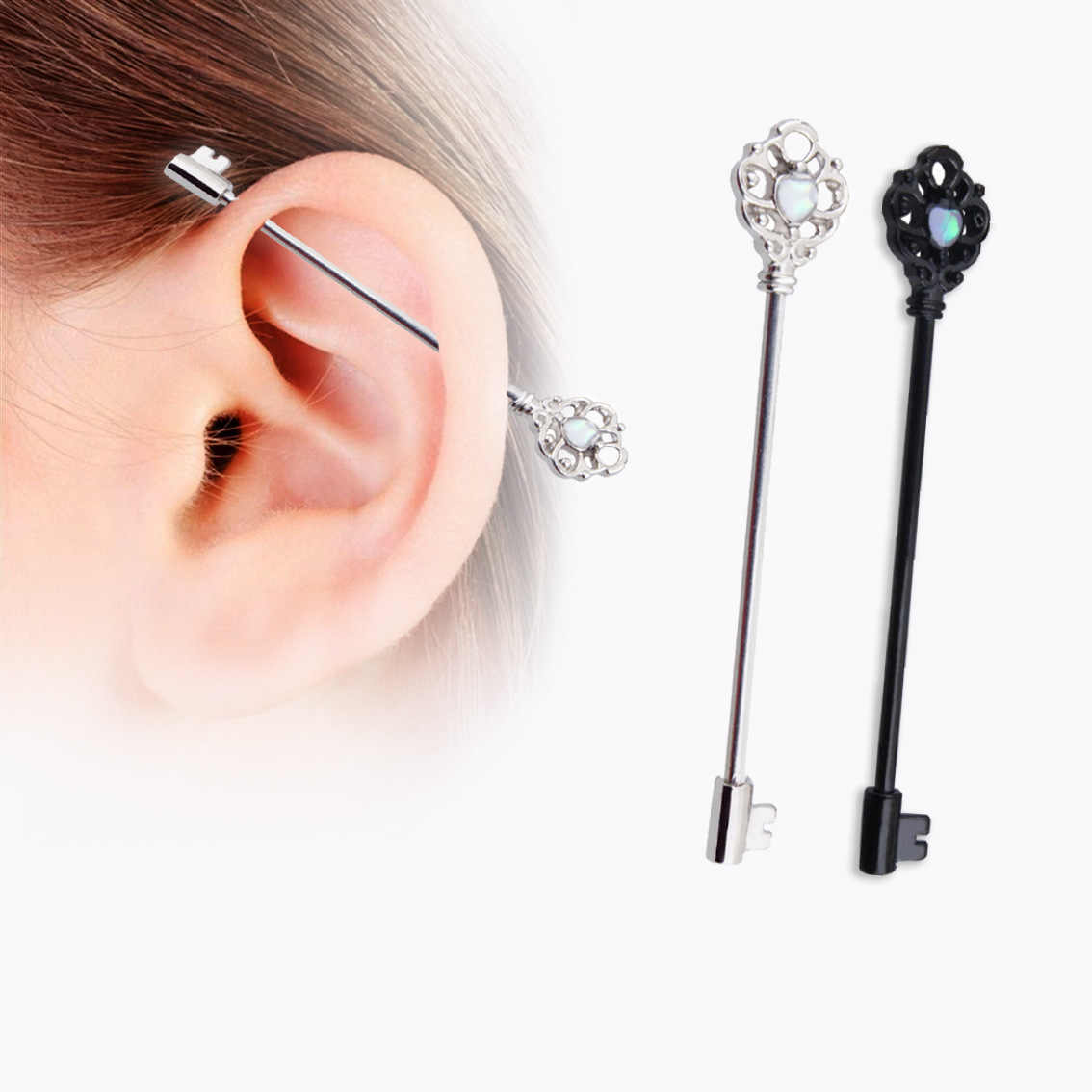 1pc Key Steel Anodized Color Industrial Piercing Length Industrial
