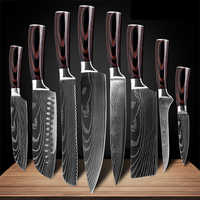 Kitchen Knives Sets Laser Damascus Pattern Chef Knife Sharp Cleaver Slicing Utility Knives Tools Sets Meat Fish Kitchen Gadgets