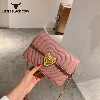 Fashion Golden Heart Flap Small Bag Women Chain Pu Leather Shoulder Bag Ladies Party Kawaii Pink Sling Crossbody Bag White Black