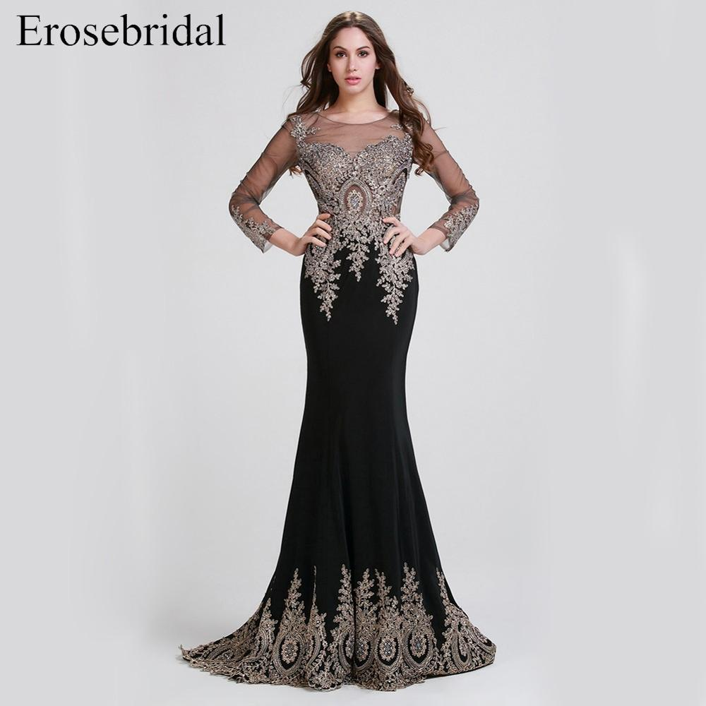 Evening-Dress Train Lace Long-Sleeve Gold Black Mermaid Clearance-Sale with 8-Colors