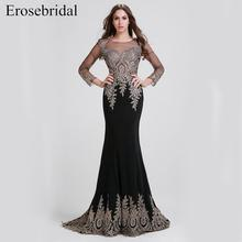 Clearance Sale Black Mermaid Evening Dress Long Gold Lace Long Sleeve