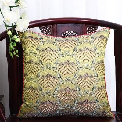 Чехол для подушки для автомобильного стула с цветами 40x40 см 45x45 см 50*50 60*60 китайские красочные диванные Декоративные Чехлы для подушек, шелковая атласная наволочка - Цвет: yellow seawater